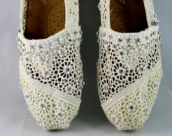 Custom Wedding TOMS --  Swarovski Crystal TOMS- The Dimanti