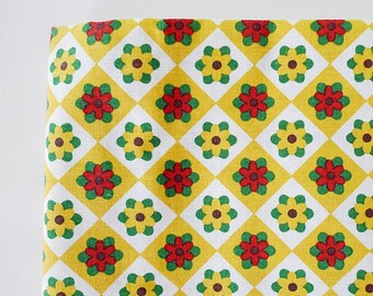 SALE Fabric, Yellow Floral Fabric, Flower Fabric, Decor Fabric, Upholstery Fabric, Linen Cotton Fabric