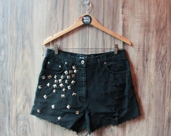 Black high waist vintage studded denim shorts Size 12 | Ripped distressed shorts | Hipster festival shorts | Silver pyramid studded denim |