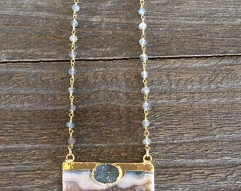 Stunning amethyst slice druzy, labradorite bead gold chain necklace