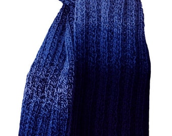 Hand Knit Scarf - Blues Tweed Trail Ridge Rib Wool