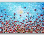Poppy painting Horizontal wall art Horizontal Poppies art painting Wall art Floral wall painting Floral prints Poppy flowers paintings