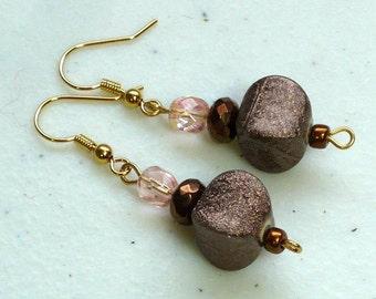 Chocolate Drop Earrings: Brown Dangle Earrings, Czech Glass Beaded Earrings, Nickle-Free Gold Ear Wires, Handmade in the USA, Ready to Ship