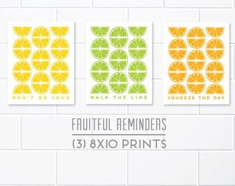Citrus Kitchen Prints, Life Lesson Puns, Lemon Art, Lime Art, Orange Art, Kitchen Print Pack, 8x10 Kitchen Prints, Citrus Kitchen Decor