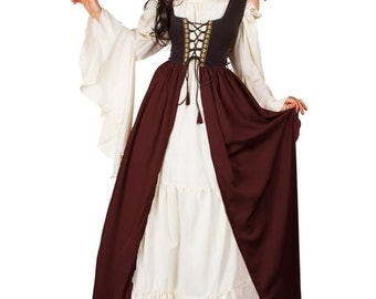 Renaissance Medieval Irish Costume Two-Toned Over Dress Fitted Bodice Burgundy 2XL/3XL