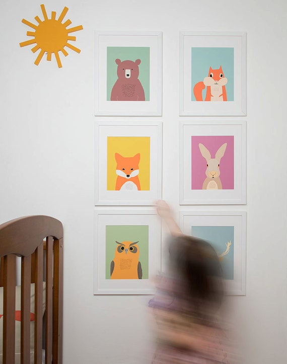 Woodland Nursery Wall Decor : Woodland nursery decor kids wall art animal