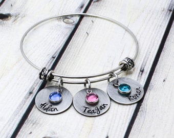 Hand Stamped Mother Bracelet - Rustic Mom Jewelry - Custom Kids Name and Birthstone Bracelet for Mom - Pewter Personalized Mom Bracelet