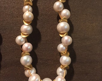 Pearl Necklace, X-large, A grade, gold chip - ruffly - floral, bud vine necklace    *SALE*