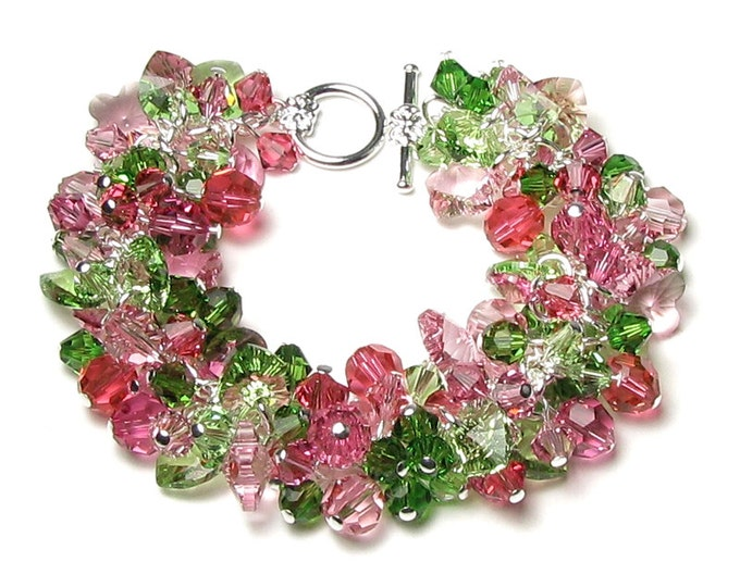 Spring Garden Swarovski Crystal Silver Bracelet, Pink & Green Apple Blossom Jewelry, Pastel Rose Flowers, Romantic Cherry Pink Gifts For Her