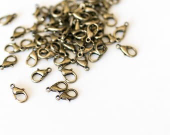 100 Lobster Clasps - WHOLESALE -  Antique Bronze - 14x8mm - Ships IMMEDIATELY  from California - FC177a