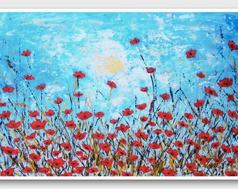 Poppy flower art Horizontal art poppy art - poppy painting - poppy wall art -  horizontal wall art - red poppies wall art blue and red