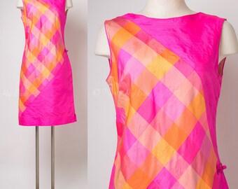Mod Dress, Vintage Pink Dress, Color Block Dress, Vintage Silk Dress, Mad Men dress, Bright Pink Dress, Neon pink dress - M/L