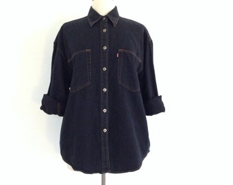 vintage levis shirt womens / black denim shirt / button up black shirt / oversized denim