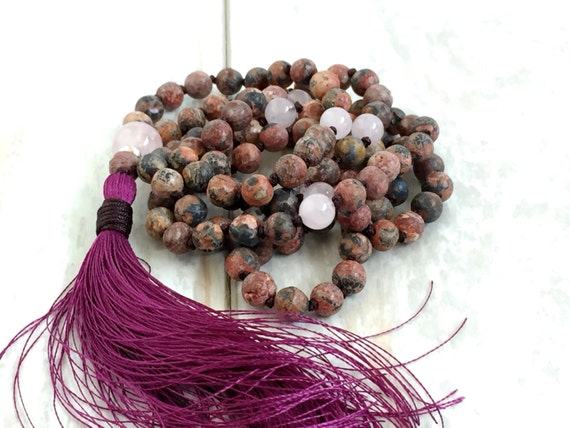 Leopard Skin Jasper Mala Necklace, Mala To Help Build Strength, 108 Bead mala, Yoga Meditation Beads, Rose Quartz Mala With Silk Tassel