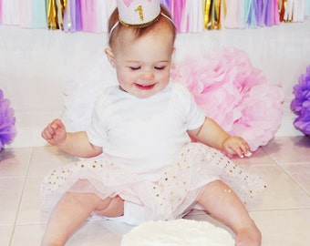 Baby Girl First Birthday Outfit | First Birthday Crown | 1st Birthday Girl Outfit for Cake Smash | 1st Birthday Hat | Baby Pink Gold