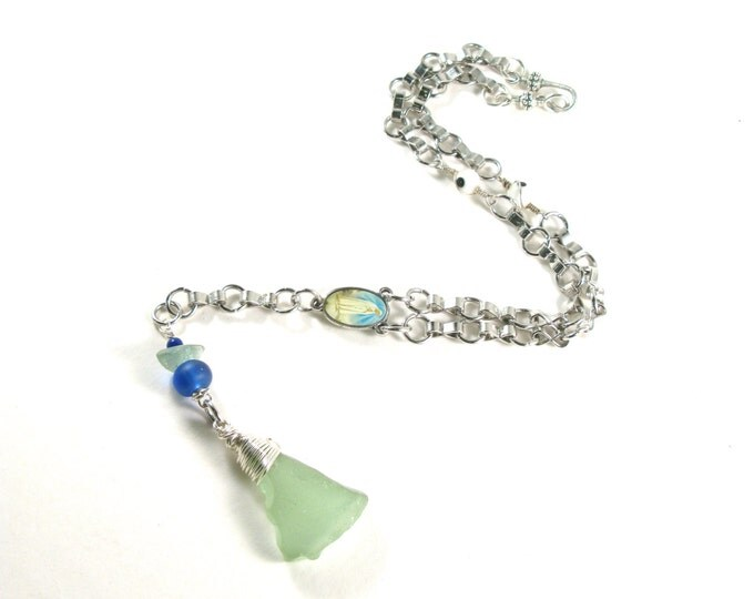"Rhode Island Sterling Silver Wire Wrapped Coca Cola Aqua Sea Glass Rosary Style Silver Necklace on a Silver Chain 16""-20"""
