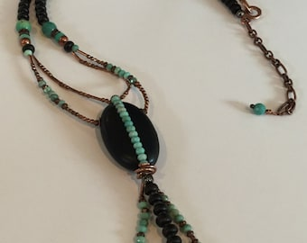 Y necklace, intricate, made with Natural Blackstone and Chrysoprase, Pendant,  adjustable length, SALE,