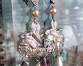 rose garden - vintage art deco earrings rhinestones flower floral gemstone garnet moss aqua glass pearl chandelier drop, the french circus