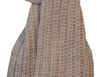 Hand Knit Scarf - Cream Hand Maiden Cashmere Trail Rib
