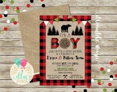 Lumberjack Baby Shower, BABY BOY Shower Invitation, Burlap, Buffalo Plaid, Lumber Jack Invite, Bear Baby Shower, Woodland Adventure, DIY