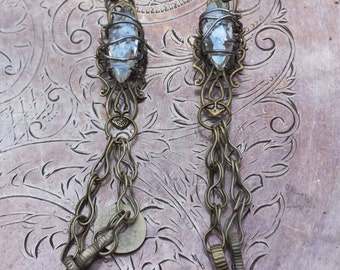 Crystal Magic Energy~Bohemian Gypsy Art Nouveau Tribal Fusion Chandelier Irisdescent Crystal Boho Long Dangle Kuchi Tassel Earrings