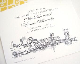 Sacramento Skyline Hand Drawn Save the Date Cards (set of 25 cards)