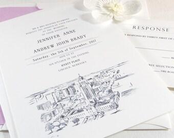 Lincoln, Nebraska Skyline Wedding Invitations Package (Sold in Sets of 10 Invitations, RSVP Cards + Envelopes)