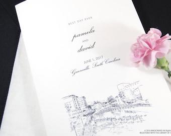 Greenville Skyline Wedding Programs (set of 25 cards)