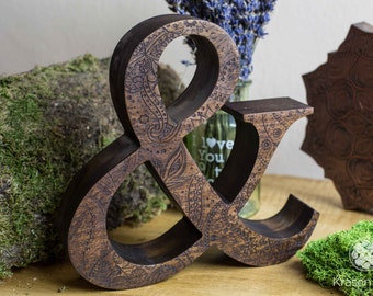 "8"" Engraved wooden letters of natural walnut wood, Personalized wooden letters, free standing letters, Wedding letters, Custom letters"