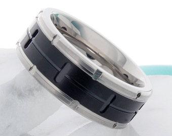 Titanium Wedding Band Brick Pattern 8mm Titanium Anniversary Ring Black White Titanium Band For Him Personalized Band Free Laser Engraving
