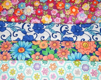 4 FQ Bundle – BOLD FLORAL Prints 100% Cotton Quilt Craft Fabric Fat Quarters V5