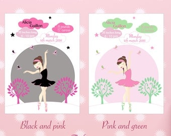 Illustration of Birth to personalize, dancer, several colors available .