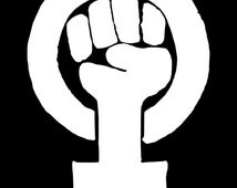 Woman clenched fist symbol jewelry said that