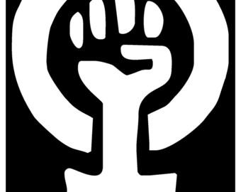 Sticker Feminist Feminism Woman Logo Symbol Clenched Fist Retro 70s 1970s