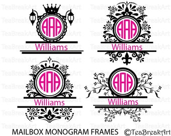 Mailbox Monogram Designs Victorian Frames Digital ClipArt Cutting Files svg eps png Instant Download iron on shirt decal heat transfer 500C