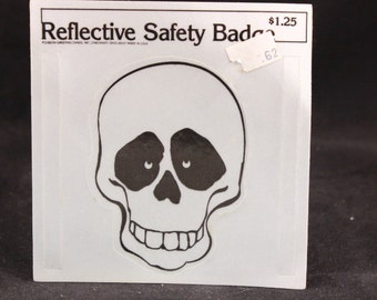 "4 Vintage Gibson Greeting Cards Reflective Skull Safety Badge. 4"" by 4"""