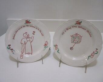 "Vintage ""Cartoon"" Plates Celebrating a Good Glass of Wine"