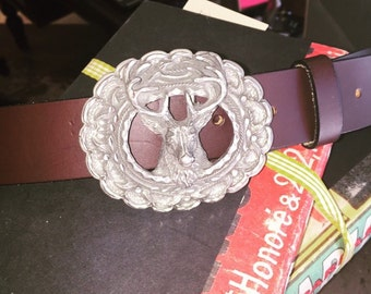 Vintage Buck Belt Buckle / Leather Belt / Deer Buckle / Clothing / Fashion / Brown Belt / Genuine Leather