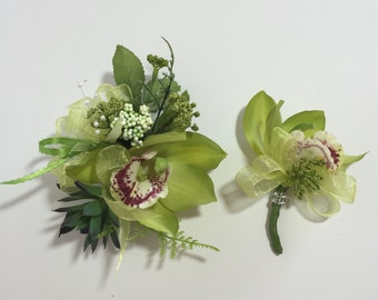 Real Touch Lime Green Cymbidium Orchid, Succulent, And Berries Corsage And Boutonniere Set