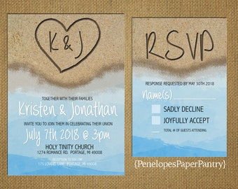Destination Beach Wedding InvitationHeart In The Sand With InitialsSandy BeachBlue