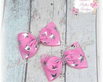 Set of 2  pink star large tux clips