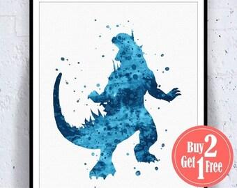 SALE: Godzilla Poster, Godzilla Print, Godzilla Art, Painting, Boys Decorations, Watercolor Poster, Watercolor Art print, Watercolor Decor