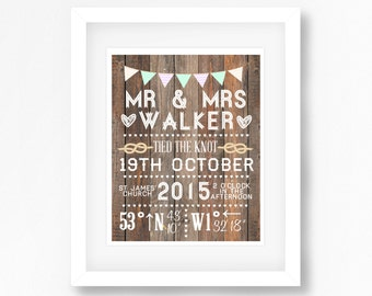Gift for Newlyweds, Wedding Gift for Couple, Personalized Mr and Mrs Gift, Bride Groom Wedding Print, Rustic Wedding Present for Couple