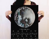 Moon calendar 2016, Lunar calendar, Moon phases, Full moon calendar, Bohemian wall art, print