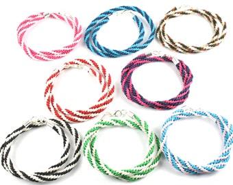 Kumihimo Double Wrap Braided Wristband /  Bracelets