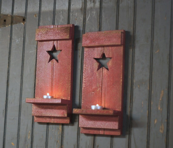 Rustic Star Wall Sconces : Red Primitive Star Rustic Wall Sconce Reclaimed by GFTWoodcraft
