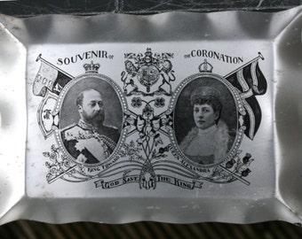 1902 Edward VII Coronation, very fine aluminium pin tray