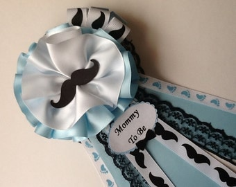 Little man baby shower corsage/Boy baby shower corsage/Mustache baby shower corsage/Elegant boy baby shower corsage/Mommy to be corsage
