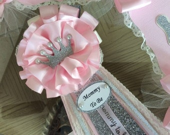 Mommy to Be Princess baby shower corsage/Pink, silver and ivory Princess baby shower corsage/Elegant Mommy to Be corsage