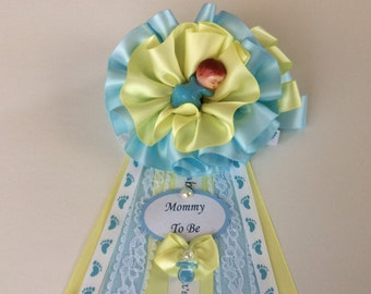 Boy Baby shower corsage/Light blue and yellow Baby shower corsage/Elegant Boy Baby shower corsage/